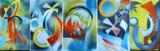 Gruppierung 2013-A (2013-15 2013-01 2012-33 2013-02 2013-14) Acrylspray Acryplatte (40x115 cm)
