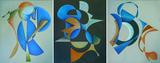 Gruppierung 2013-F (2013-21 2013-23 2013-24) Acryl Leinwand (60x150 cm)