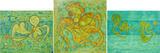Gruppierung 2020-B (2020-15 2020-16 2020-17) Acrylspray Leinwand (80-100x300 cm)