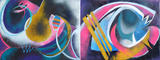 Gruppierung 2019-A (2019-01 2019-02) Acrylspray Leinwand (60x160 cm)